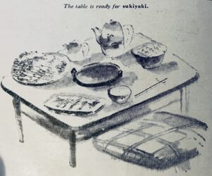 The table is set for sukiyaki
